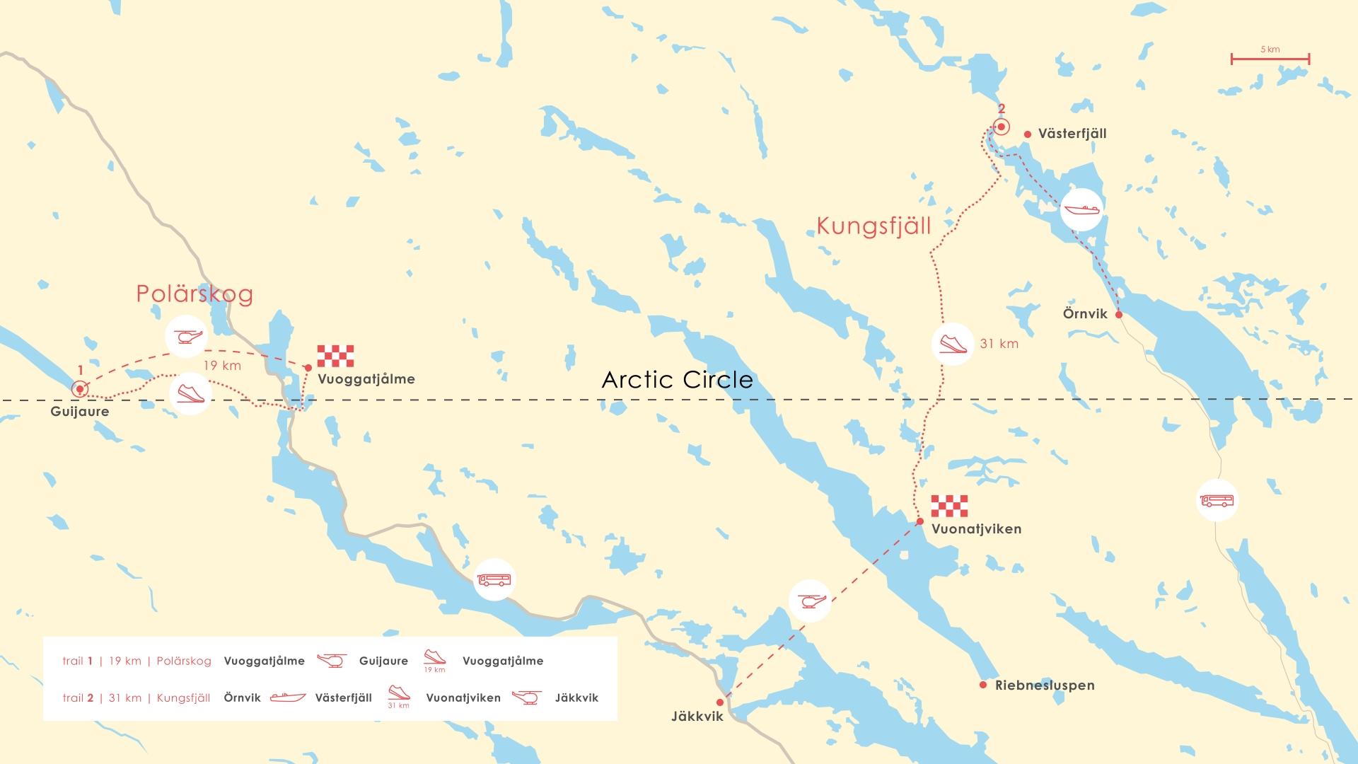 Routes van de trails