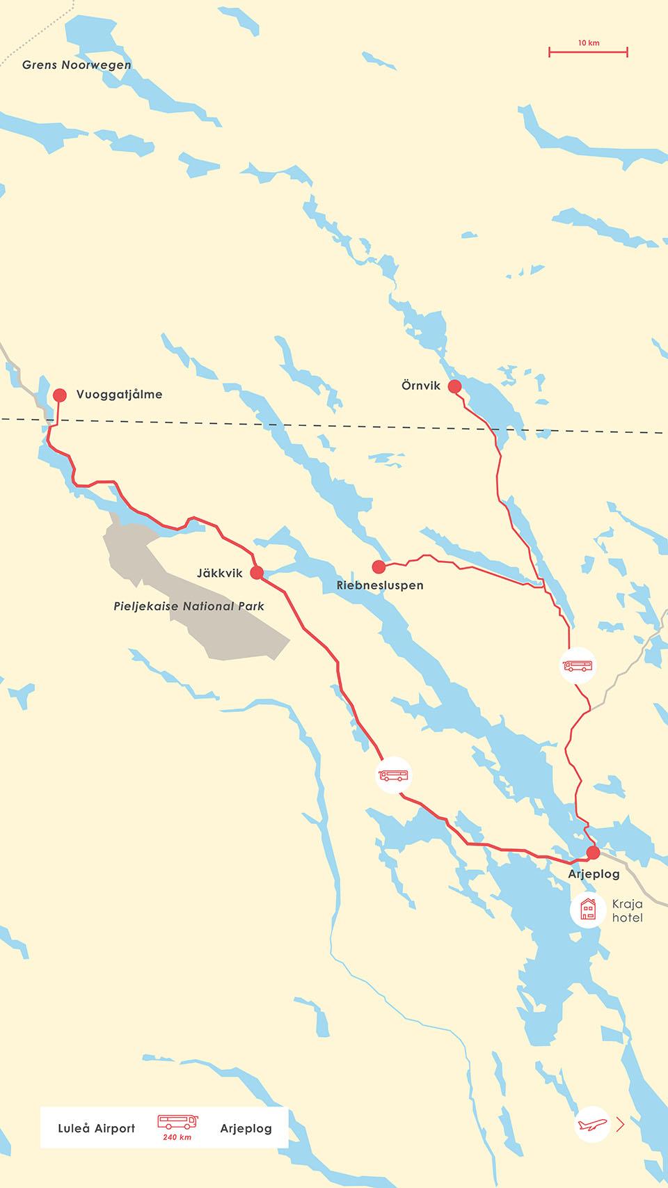 Kaart bustransfers trails